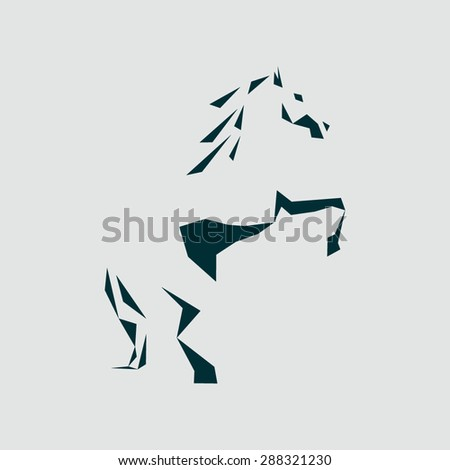 abstract silhouette of a horse, buyout stands on its hind legs. Stylized horse logo - stock vector