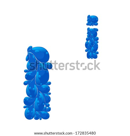 Abstract silhouette of a letter from the alphabet in the form of blue drops of water - stock vector