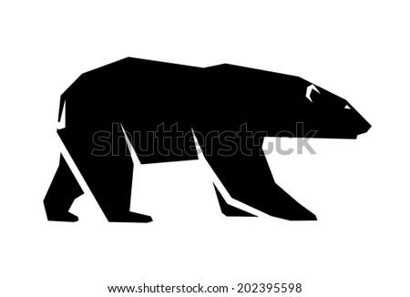 abstract silhouette of a polar bear - stock vector