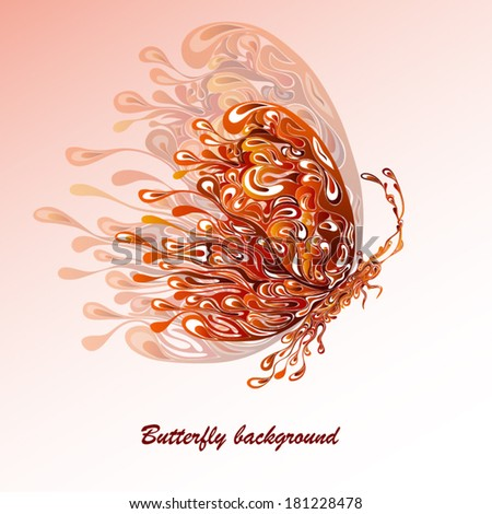 Abstract silhouette of an orange butterfly from patterns with a shadow - stock vector
