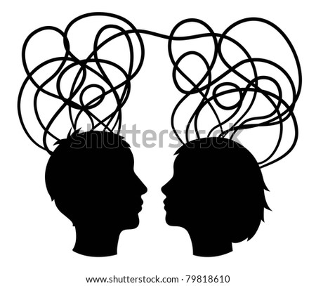 abstract silhouette of couple heads, think concept, vector