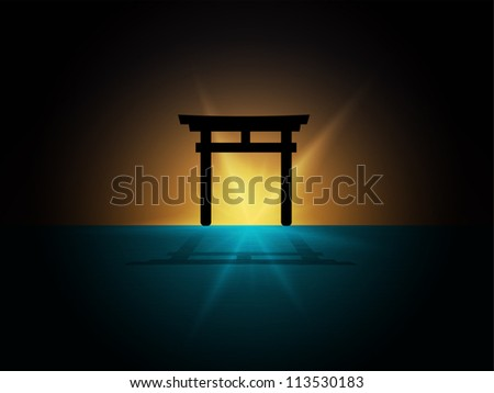 abstract Silhouette of japan gate on the water