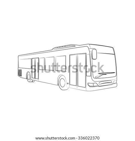abstract silhouette of the bus, isolated on white background