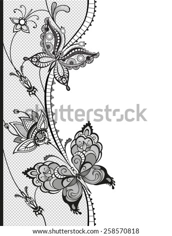 Abstract silhouettes of decorative butterflies. These butterflies and flowers are reminiscent of lace, they are created to decorate - stock vector