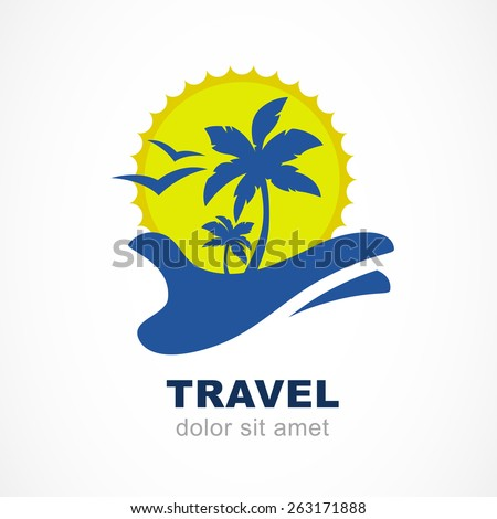 Abstract silhouettes of palm tree and sun on hand. Concept for travel agency, tropical resort, beach hotel, spa. Summer vacation symbol. Vector logo design template. - stock vector