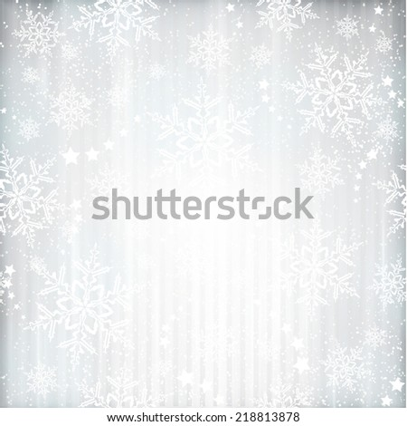 Abstract silver background with faintly visible vertical stripes, stars and snow  flakes. Light effects and the silver color give it a festive feeling  for any festive Christmas, winter design. - stock vector