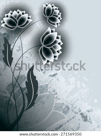 Abstract Silver Background with Flowers. - stock vector