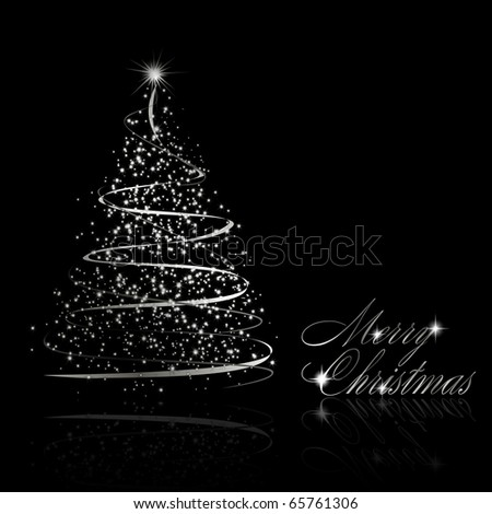 abstract silver christmas tree on black background vector eps10 illustration - Silver Christmas Tree
