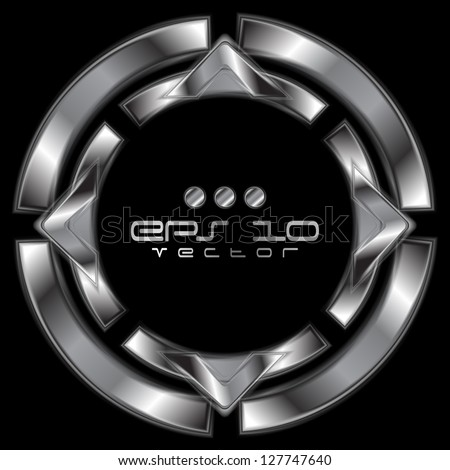 Abstract silver metallic shape. Vector steel  logo eps 10 - stock vector