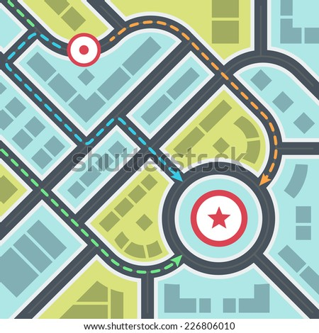 Abstract Simple City Map with Pins and Ways in Flat Style - stock vector