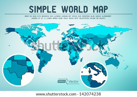 Abstract simple world map - EPS10 vector design - stock vector