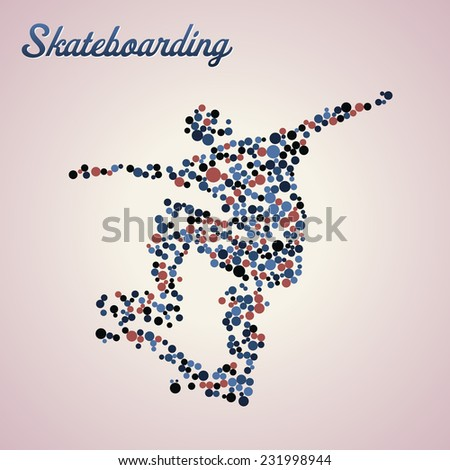Abstract skateboarder silhouette from dots in jump