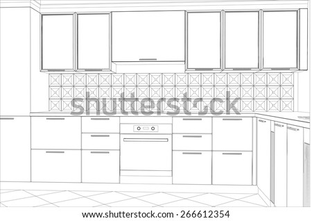 abstract sketch design of interior kitchen. Illustration created of 3d. - stock vector
