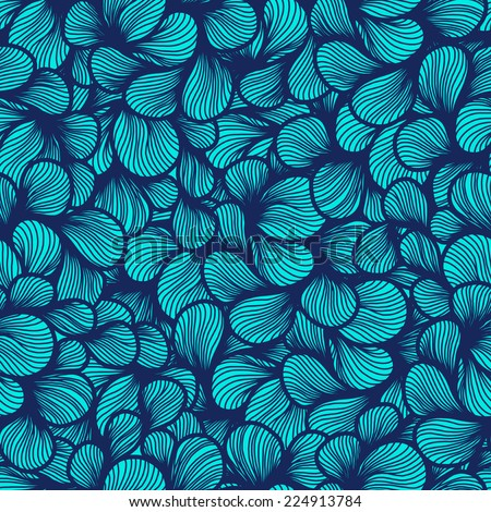 abstract sketch foliage petals seamless pattern. hair pattern. wave hand-drawn vector pattern. surface texture. vector background - stock vector