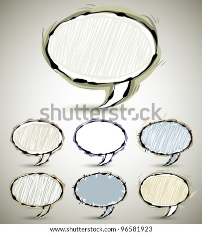 Abstract sketch style speech bubbles, set of color and shape versions. Vector banners collection.