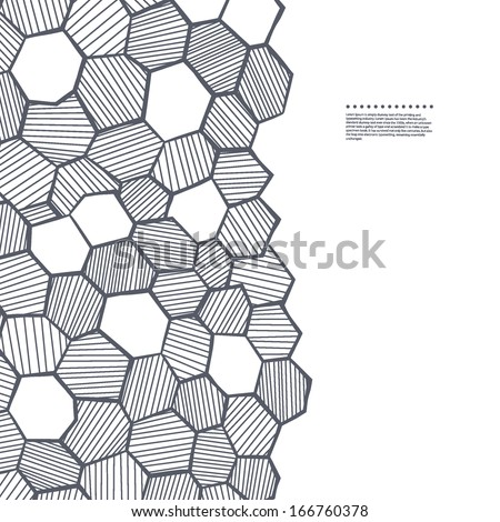 Abstract sketched honeycomb - stock vector