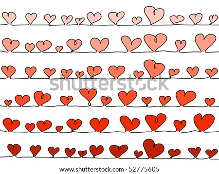 abstract, sketchy vector hearts on a line as background