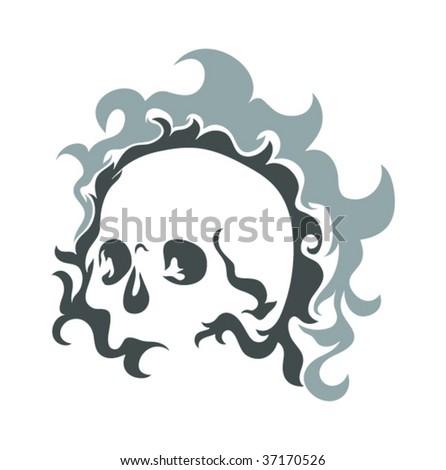 abstract skull - stock vector