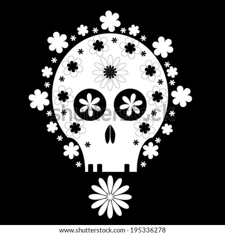 Abstract Skull covered with Flowers