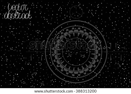 Abstract Sky Background. Map of Hemisphere. View Through a Telescope. Vector Illustration