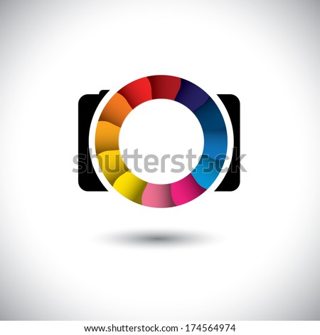 abstract SLR digital camera with colorful shutter vector icon. This graphic is a simple vector representation of stylish lens or aperture of a digital camera for taking photos & videos - stock vector