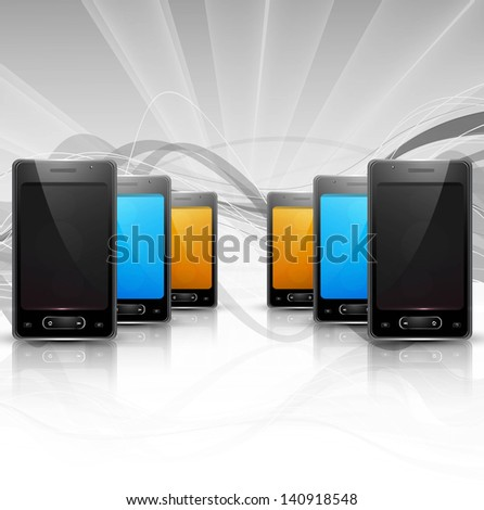 Abstract smart phone or mobile colorful handset reflection presentation wave background vector illustration