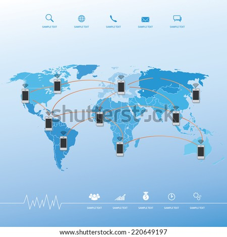 Abstract smart phone with social network image. Vector connection concept background with world map.