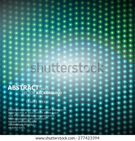 Abstract smooth background with glowing rows of halftone dots - stock vector
