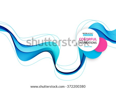 Abstract smooth color wave vector. Curve flow blue motion illustration - stock vector