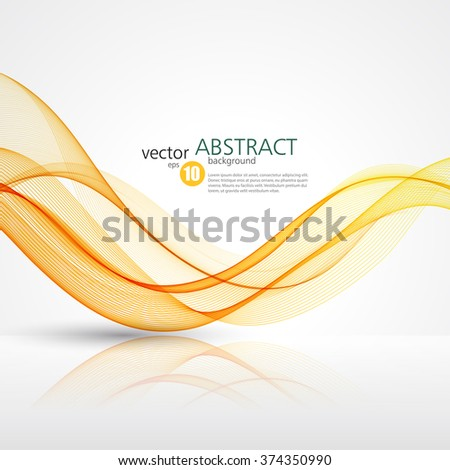 Abstract smooth color wave vector. Curve flow orange motion illustration - stock vector