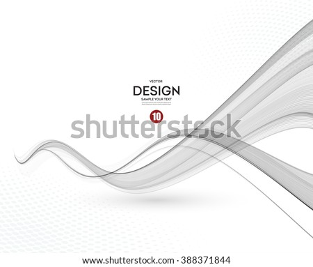 Abstract smooth gray wave vector. Curve flow grey motion illustration. Gray smoke. Business wave background. Technology wave banner  - stock vector