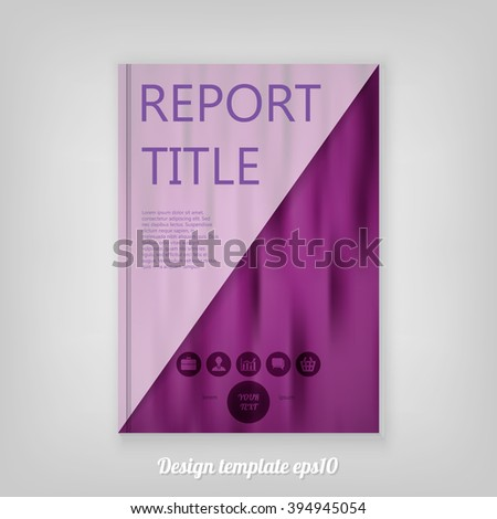 Abstract smooth purple report cover template design. Business brochure document layout for company presentations. - stock vector