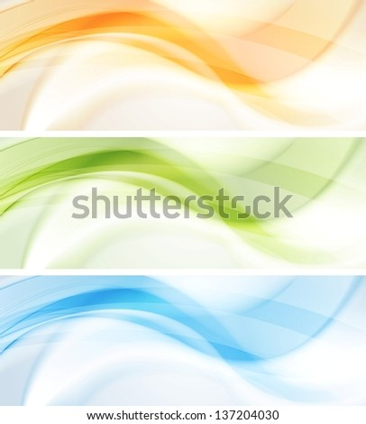 Abstract smooth wavy banners. Vector background eps 10 - stock vector