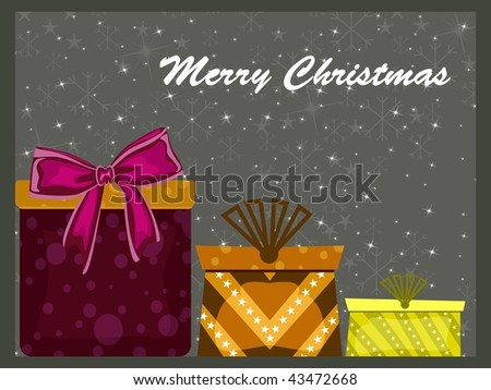 abstract snowflake background with colorful gift box - stock vector