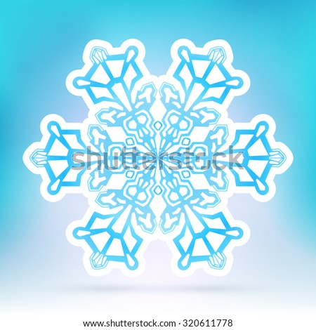 Abstract Snowflake Symbol with Ice Blue Background Gradient - Beautiful Filigree Snow Flake Icon Label with White Border - Seasonal Winter Design Sticker - stock vector