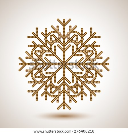 Abstract snowflake with imitation of sequins for Christmas greeting cards, advertising and other creative designs. Editable vector with several layers. Eps 10 - stock vector