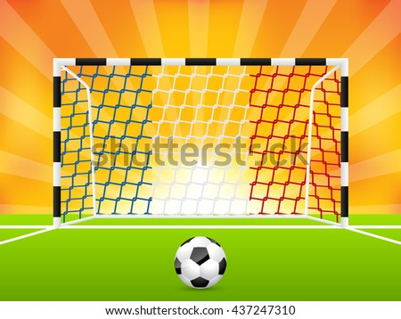 Abstract soccer background template with french flag net - stock vector
