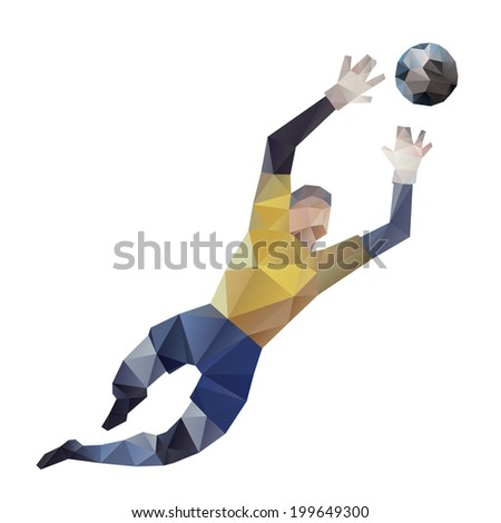 Abstract soccer goalkeeper, polygonal - vector