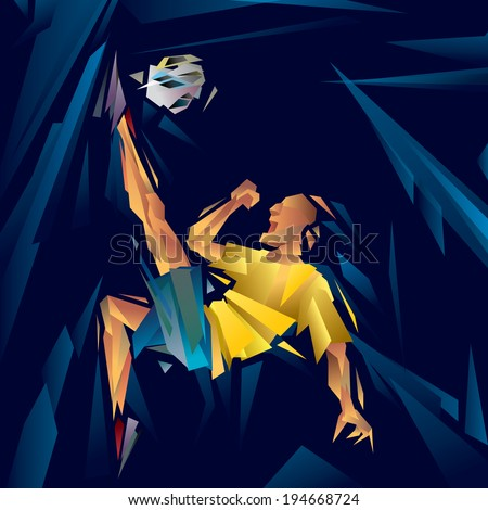 Abstract Soccer Player, Art Cubism (vector Art) - stock vector