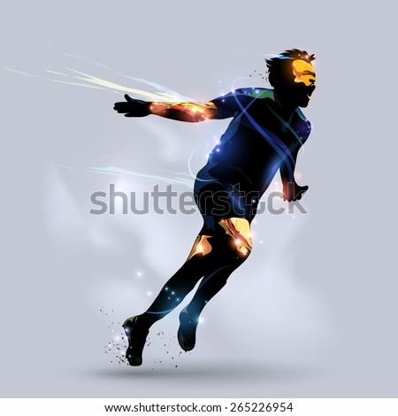 abstract soccer player celebrating goal with gray background - stock vector