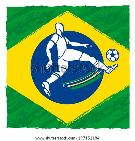 abstract soccer player on the flag of Brazil