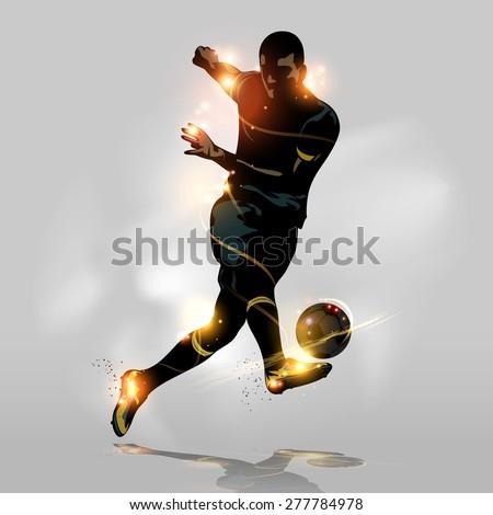 Abstract soccer player quick shooting a ball - stock vector