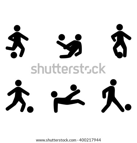 Abstract soccer players icons black silhouettes - stock vector