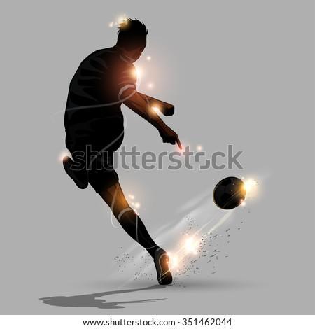 abstract soccer speed shooting a soccer ball - stock vector