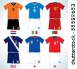 Abstract Soccer uniforms :Dutch, USA, Italy, Japan, Portugal, S.Korea-vector image with easy editable colors - stock photo