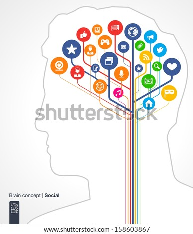 Abstract social media background. Brain concept with silhouette of a human head and icons (earth, network, computer, technology, like, mail, mobile and speech bubble). Vector infographic illustration.