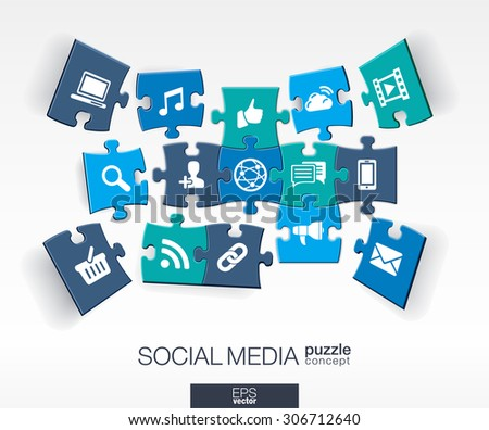 Abstract social media background with connected color puzzles, integrated flat icons. 3d infographic concept with network, computer, technology, pieces in perspective. Vector interactive illustration.