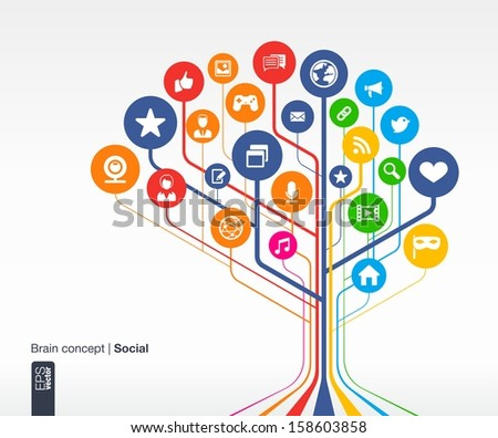 Abstract social media background with lines and circles. Brain concept with earth, network, computer, technology, like, mail, mobile and speech bubble icon. Vector infographic illustration. - stock vector