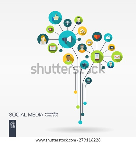 Abstract social media background with lines, connected circles, integrated flat icons. Growth flower concept with network, computer, technology, speech bubble icon. Vector interactive illustration. - stock vector