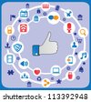 Abstract social media concept with background communication of the network - vector illustration - stock vector